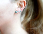 Tiny Turquoise Studs, Triangle Stud Earrings, Everyday Earrings, Gift for her