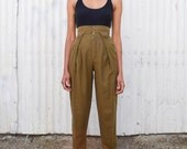 Vintage Army Green 1990's High Waisted Jodhpur Tapered Linen Trousers Pants XS/S 25