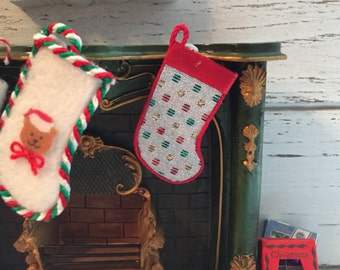 Miniature Silver and Red Christmas Stocking, Dollhouse 1:12 Scale Miniature, Christmas Decor, Dollhouse Accessory