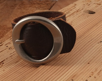 Brown Wide Leather Cuff Bracelet with Nickle Tone Buckle