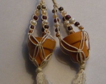 Macrame' potted plant Earrings