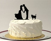 INCLUDE YOUR CAT Silhouette Wedding Cake Topper Silhouette Kissing Couple With Pet Cat Family of 3 Cake Topper Bride and Groom Cake Topper