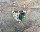 Chrysocolla and Silver Necklace. Handmade Jewelry for Charity. NC21