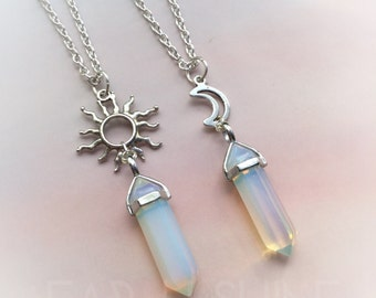 Opalite crystal point necklace with sun or moon 22 inch chain