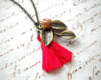 Red Necklace Christmas Gift For Her Tree Branch Necklace Leaf Necklace Woodland Jewelry Red Jewelry Leaf Jewelry Nature Jewelry