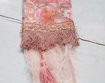 Vintage French Chic. Wall Hanging. French Bohemian Peachy Pink. .Shabby French Farmhouse. Vintage Wallpaper. French bridal veil.
