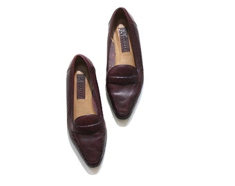 Vintage Leather Loafers 9 / Oxblood Leather Loafers / Pointed Toe Flats / Woven Leather Flats