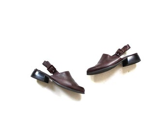 Vintage Leather Mules 6 / Brown Leather Slingbacks / Leather Sandals