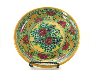 Yellow Ceramic Plate - Handmade Floral Pottery Platter with Red Floral Design - OOAK Collectible