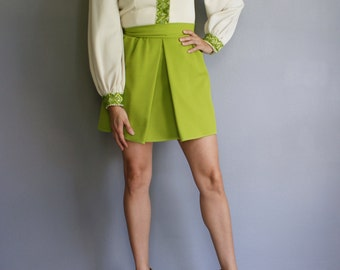 Vintage IMPERIAL Designs by FRED ROTHCHILD 60s 70s Chartreuse Mini Dress (s-m)