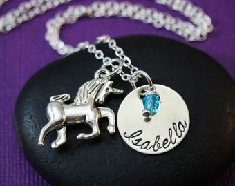 Unicorn Necklace • Back to School Gift • Fairy Tale Necklace • Unicorn Charm • Personalized Custom Name • Magical Pony