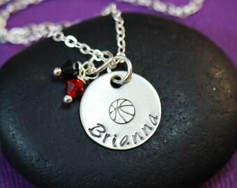 SALE - Basketball Necklace - Basketball Jewelry - Team Necklaces - Basketball Team Gift - Team Name - Personalized Team Color - Custom Name