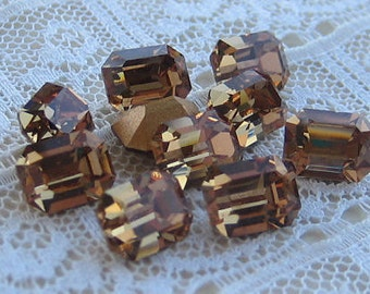 LAST ONE'S 8x6 Machine Cut Light Colorado Topaz Octagon Swarovski Rhinestone  Quantity 30
