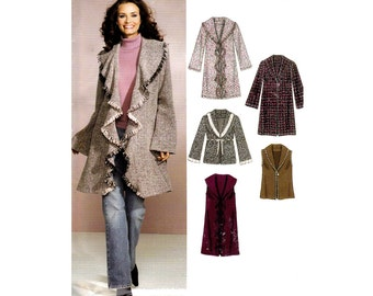 Womens Winter Coat Jacket Pattern New Look 6538 Out of Print Sewing Pattern Sizes 10 - 22 Bust  32 1/2 - 44 inches UNCUT Factory Folded
