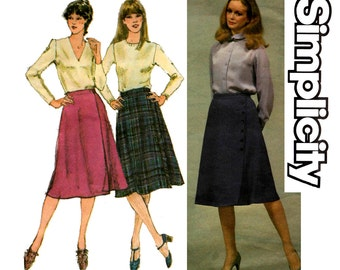 Simplicity 9721 Womens Button Trimmed Flared Wrap Skirt Kilt 80s Vintage Sewing Pattern Waist 26 1/2 inches UNCUT Factory Folds