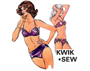 70s Stretch Bikini sewing pattern Kwik Sew 991 Vintage 2 piece Side ruched Swimsuit pattern Bust 32 1/2 - 35 1/2 inches UNCUT Factory Folds