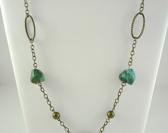 Turquoise Necklace Turquoise Brass Necklace Long Turquoise Chain Necklace Genuine Turquoise Gemstone Long Brass Chain Boho Rustic Turquoise
