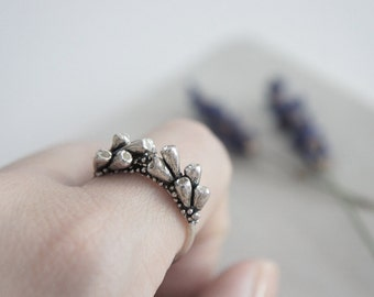 READY to SHIP - Lavender branches silver ring / AMARANTA Collection
