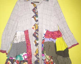 Upcycled linen funky ruffled shirt jacket fits S M
