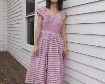50s Prom Dress Pink Formal Gown Vintage 1950s Party XS Petite 32 bust 24 waist
