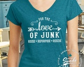 For the Love of Junk Vintage Ladies' Triblend V-Neck T-Shirt- funky junk, junk vendor, vintage dealers, gypsy, pickers, junkin' shirt