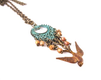 Gold Bird Necklace - Layering Necklace - Bird Pendant - Sparrow Necklace - Dove Necklace - Swallow Pendant - Tiny Bird Necklace