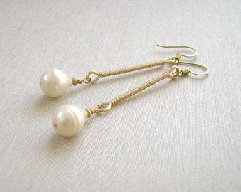 Pearl Earrings, Stick Earrings, Gold, Wire Wrapped, Freshwater Baroque Pearls, Pearl Teardrops, 948