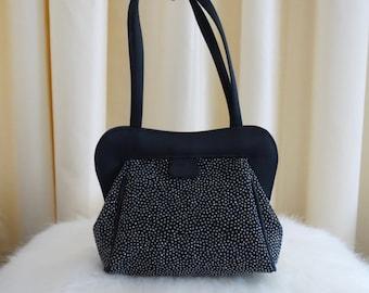 Vintage 80s Marian Made in Spain Shimmering Black and Silver Glitter Evening Handbag Purse