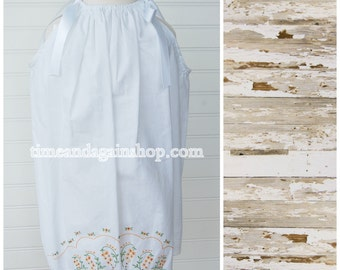 Pillowcase Dress From Vintage Linens - Antique Pillowcase Dress - Size 3T dress (Ant886) - Floral Dress FREE CLIP