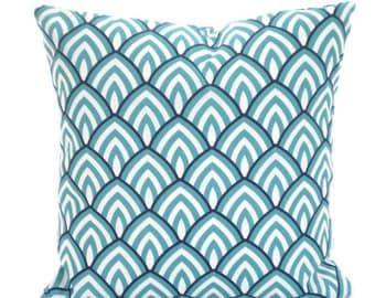 OUTDOOR Aqua Navy Blue Pillow Covers, Decorative Throw Pillows, Cushions, Navy Aqua White Geometric Lalo Patio One or More ALL SIZES