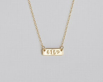 Love Your Area Code Necklace - gold filled bar hand stamped wear your favorite place handmade gift nashville tennessee 615
