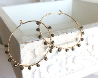 Gold Pyrite wrapped hoops, gem stone earrings, thin gold hoops, gift for her, delicate earrings