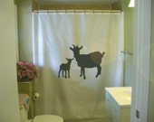mother goat and kid shower curtain farm animal farming nature agriculture capra domesticated bathroom decor kids bath curtains custom size