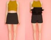 Black and White Polka Dot mini Skirt/Skort