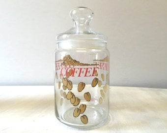 Vintage Coffee Jar, glass coffee jar, vintage storage jar, vintage coffee canister, vintage jar, 80s kitchen canister, vintage kitchen jar