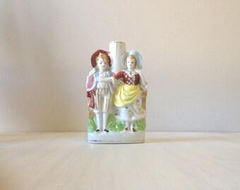 Vintage china lamp base, romantic victorian couple figurine, porcelain lamp base, figurative statue, wedding gift, ceramic lamp base, kitsch