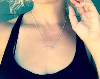 Elegant Oval Amazonite Rose Quartz Amethyst Faceted Pendant Necklace