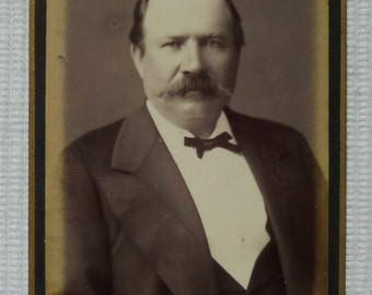 Antique CDV Photo - Older Man with Long Moustache /Mustache (C. Thiel, Brussels, Belgium)