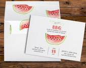 Simple Watercolor Watermelon Invitation for Baby Shower, Going Away Party or Outdoor bbq PRINTABLE DIGITAL or PRINTED