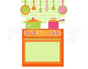 Küche Herd Niedlich Digitale Clipart, Süße Küche Clip Art, Küche Grafiken,  Küche Backofen