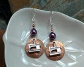 Penny Sewing Machine Earrings, Purple Sewing Machine Copper Penny Sterling Silver Dangle Earrings, Penny Purple Dangle Silver Earrings