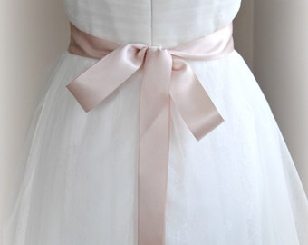 Double Face Blush Satin Ribbon, 1.5 Inch Wide, Ribbon Sash, Bridal Sash, Wedding Belt, 4 Yards