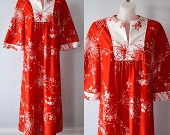 Vintage Caftan, 1970s Caftan, Vintage Sidan Hawaii Caftan, Sidan Hawaii, Vintage Lounge Wear, Lounge Wear