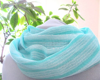Lacy Spring Summer Fall Scarf, Light Mens Womens Fashion Wrap, Urban Casual Oversized Scarf, Artisan Hand Woven Turquoise Blue White Cotton
