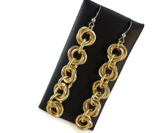 Gold Chain Earrings Long Aluminum Jewelry 925 Silver Ear Wires, Yellow Chunky Chain Drop Earrings Chainmaille Jewelry Design, Bold Jewelry