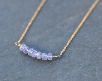 Tanzanite bar necklace, tanzanite gold necklace, december birthstone necklace, custom necklace