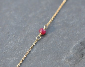ruby necklace on delicate gold chain, bridesmaid necklace, july birthstone necklace, minimalist jewelry, custom mothers day necklace