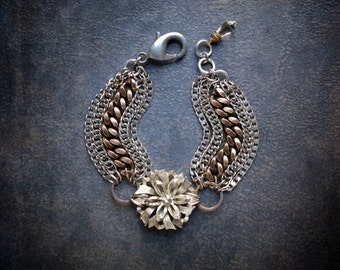 Industrial Multi Strand Statement Bracelet with Textured Silver Floral Focal and Flashy Filed Curb Chains in Brass and Silver
