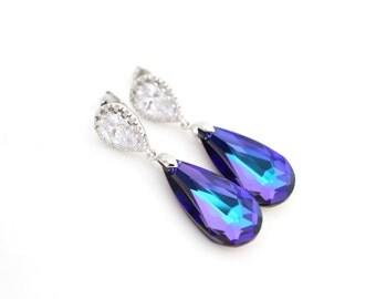 Purple Bridal Earings Violet Wedding Earrings Heliotrope Swarovski Crystal Earrings Cubic Zirconia Jewelry Purple and Teal Bridesmaid Gift