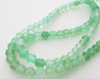 Prehnite Beads - Green Prehnite Round Beads - Small Smooth Natural Gemstone Beads - 4mm - 16 Inch Strand for Jewelry Beading